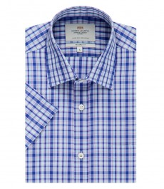 Мужская полуприталенная рубашка, голубая в фиолетовую клетку, короткий рукав - легко гладится
