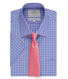 Мужская полуприталенная рубашка, голубая в розовую клетку, короткий рукав - легко гладится