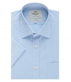 Мужская голубая полуприталенная рубашка Clifford с коротким рукавом - легко гладится
