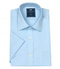 Мужская однотонная голубая рубашка, полуприталенная, короткий рукав - обработка под шёлковое прикосновение