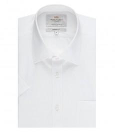 Мужская белая попуприталенная рубашка с коротким рукавом - лёгкая глажка