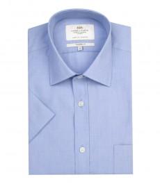 Мужская полуприталенная рубашка, однотонная голубая, ткань с переплетением, короткий рукав