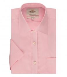 Мужская полуприталенная рубашка розового цвета, ткань с переплетением, с коротким рукавом