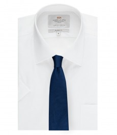 Мужская полуприталенная офисная рубашка ткань с переплетением с коротким рукавом - лёгкая в глажке