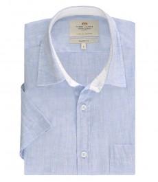 Мужская полуприталенная рубашка, короткий рукав, льняная, цвет голубой