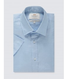 Мужская полуприталенная рубашка , голубая, льняная ткань, короткий рукав