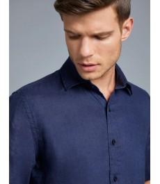 Мужская полуприталенная рубашка , тёмно-синяя, льняная ткань, короткий рукав
