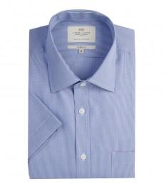 Мужская полуприталенная рубашка голубо-белого цвета в тонкую полоску с коротким рукавом
