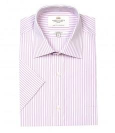 Мужская полуприталенная рубашка Clifford, белая с розовым мульти полоска, короткий рукав
