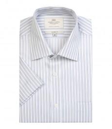 Мужская полуприталенная рубашка бело-серого цвета в частую полоску с коротким рукавом