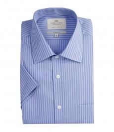 Мужская полуприталенная рубашка голубо-белого цвета в частую полоску с коротким рукавом