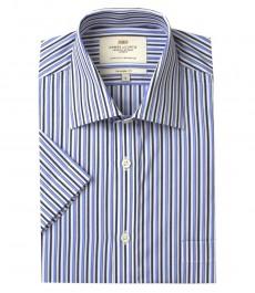 Мужская полуприталенная рубашка сине-голубого цвета в частую полоску с коротким рукавом