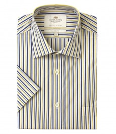 Мужская полуприталенная рубашка сине-жёлтого цвета в частую полоску с коротким рукавом