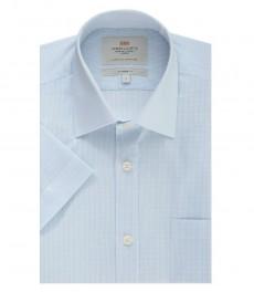 Мужская полуприталенная рубашка, голубая в белую полоску, короткий рукав - легко гладится