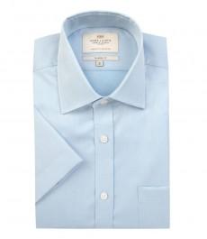 Мужская светло - голубая  рубашка, полуприталенная, короткий рукав