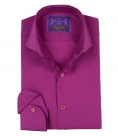 Приталенная мужская розовая рубашка Chelsea, одиночная манжета