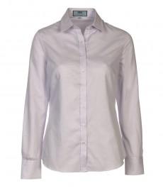 Женская рубашка, полуприталенная в горизонтальную полоску, белая, манжеты на пуговицах