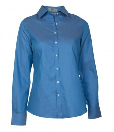 Женская приталенная рубашка, голубая в белую крапинку, манжеты на пуговицах