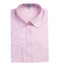 Женская рубашка, приталенная, розовая с рисунком, манжеты на пуговицах