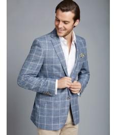Мужской голубой в клетку пиджак, бленд из шерсти шёлка и льна