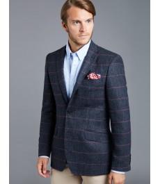 Мужской тёмно-голубой твидовый блейзер, ткань в ёлочку с красной клеткой - 100% Шерсть