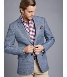 Мужской серо-голубой хлопково-льняной пиджак