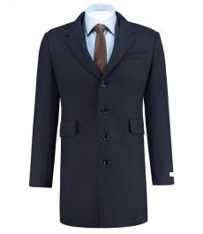 Мужское пальто, темно-синее с вязаными вставками