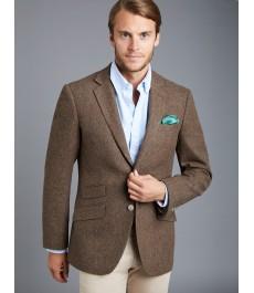Мужской коричневый твидовый блейзер, ткань в ёлочку - 100% Шерсть