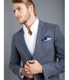 Мужской серый твидовый блейзер, ткань в ёлочку - 100% Шерсть