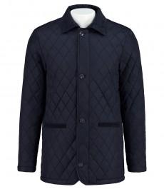 Мужское темно-синее пальто, стёганное