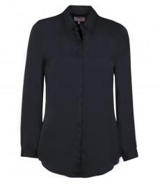 Женская рубашка, однотонная, не приталенная, темно-синяя-манжеты на пуговице