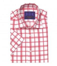 Приталенная мужская рубашка Chelsea, красно-белая широкая клетка, короткий рукав