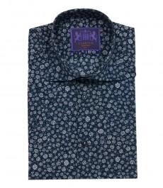 Приталенная мужская рубашка Chelsea, тёмно-синяя с серым цветочным принтом, короткий рукав