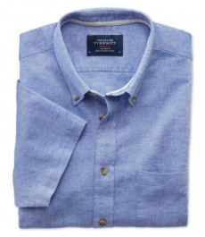 Мужская приталенная рубашка Charles Tyrwhytt светло-голубого цвета с коротким рукавом