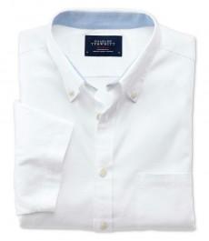 Мужская белая приталенная рубашка Charles Tyrwhitt с коротким рукавом