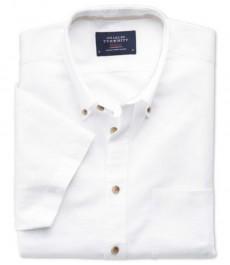 Мужская приталенная рубашка Charles Tyrwhytt белого цвета с коротким рукавом