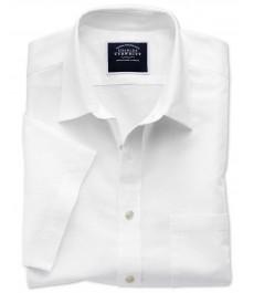 Мужская классическая рубашка Charles Tyrwhitt, хлопково-льняная ткань, короткий рукав