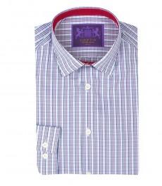 Мужская экстраприталенная рубашка, голубая в фиолетовую полоску, контрастные детали