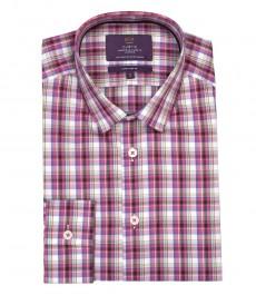 Мужская экстраприталенная рубашка, розовая в крупную зеленую клетку - манжеты на пуговицах