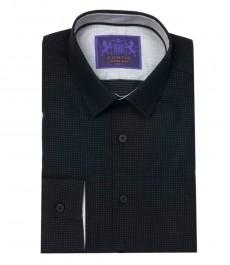 Мужская экстрапиталенная рубашка, черная в точку, с контрастными деталями
