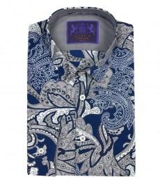 Мужская модная экстраприталенная рубашка, голубой с серым персидский принт Пейсли