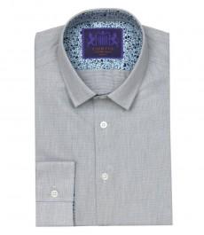 Мужская приталенная рубашка , цвет серый с белым, принт с контрастными деталями - манжеты с пуговицами