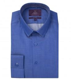 Мужская экстраприталенная рубашка, цвет индиго, точка - манжеты с пуговицами
