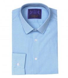 Мужская голубая с белым рубашка, жаккард, экстраприталенная - одинарные манжеты