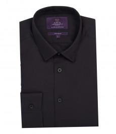 Мужская экстраприталенная рубашка, однотонная, черная - манжеты с пуговицами