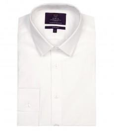 Мужская экстраприталенная рубашка, однотонная, белая - манжеты на пуговицах