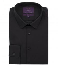 Мужская экстраприталенная рубашка, однотонная, черная - манжеты на пуговицах