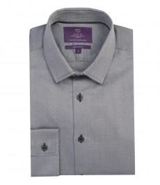Мужская экстраприталенная серая рубашка, ткань твил, хлопок-одинарные манжеты