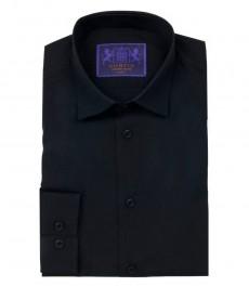 Мужская однотонная черная рубашка, экстраприталенная поплин - одинарные манжеты