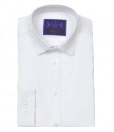 Мужская экстраприталенная рубашка, однотонная белая - одинарные манжеты